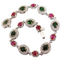 5.27 Carat Natural Tsavorite Ruby Diamonds Cluster Link Bracelet