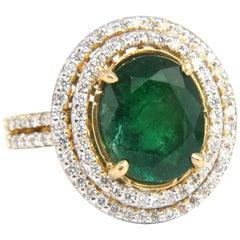 4.45 Carat Natural Oval Emerald Diamond Ring 14 Karat Double Halo Deco