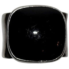 Hammered Sterling Silver and Black Onyx Cabochon Square Ring