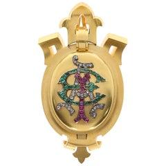 Gem Set Monogram Locket Pendant in 18 Karat Gold in Original Blue Velvet Box