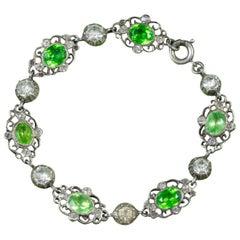 Antique Victorian Green Paste Bracelet Silver, circa 1900