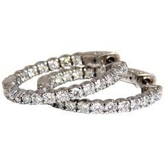 1.55 Carat Natural Round Brilliant In/Out Diamond Hoop Earrings 14 Karat G/Vs