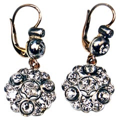 Drop Dangle Earrings 14ct Gold 585 Diamonds 2.40 Ct, Vienna, Austria, circa 1900