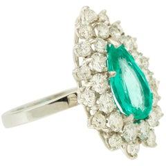 Pear Emerald and Diamonds Entourage 18 Karat White Gold Cocktail Ring