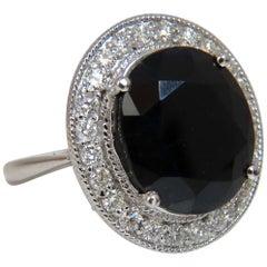 13.04 Carat Natural Black Sapphire Diamonds Ring 14 Karat Cluster Cocktail