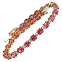 7.80ct natural Vivid Pink Sapphire diamond bracelet 14kt g/vs tennis class