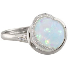 Dianna Rae Jewelry White Gold Opal Orb Diamond Cocktail Ring
