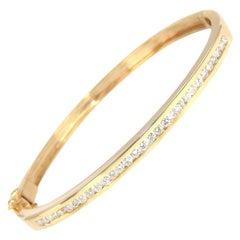 1.30 Carat Natural Round Diamond Channel Set Bangle Bracelet 14 Karat Gold