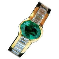 Natural 2.20 Carat Vivid Green Emerald Diamond Ring Baguette VS