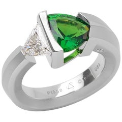 Steven Kretchmer Platinum 2-Stone Rudder Ring with Chrome Tourmaline and Diamond