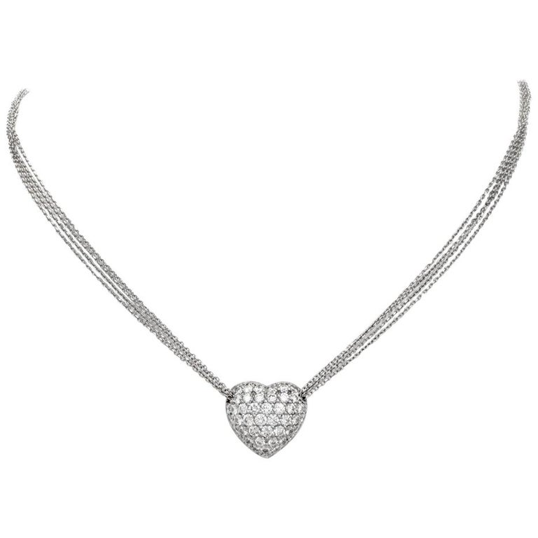 Cluster Diamond Heart Pendant Platinum Necklace