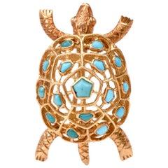Boucheron Vintage Turtle Turquoise 18 Karat Pin Brooch