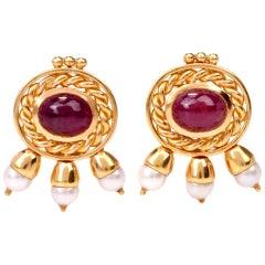 Seidengang Cabochon Ruby Pearl Clip Back Earrings