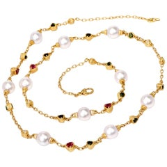 Judith Ripka Estate Tourmaline Pearl Diamond Gold Chain Necklace
