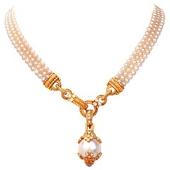 Judith Ripka Estate Diamond Pearl Pendant Necklace