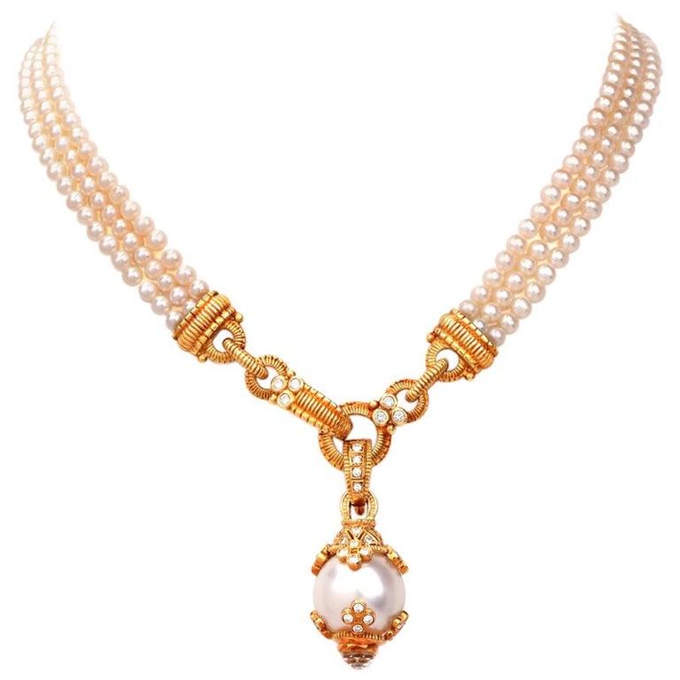 Judith Ripka Estate Diamond Pearl Pendant Necklace