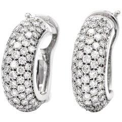 1990s Huggies Diamond 18 Karat Gold Hoop Earrings