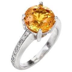 1980s Yellow Sapphire Diamond Platinum Ring