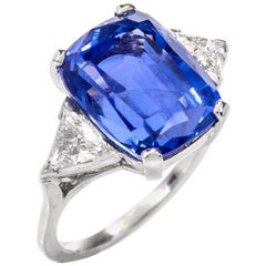 Natural No Heat Sapphire Diamond Three-Stone Platinum Ring
