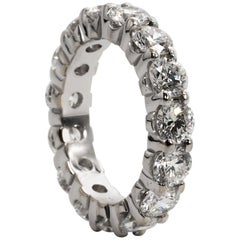 Diamond Eternity Ring in 18 Karat White Gold 4.71 Carat, D-E Color VS Clarity