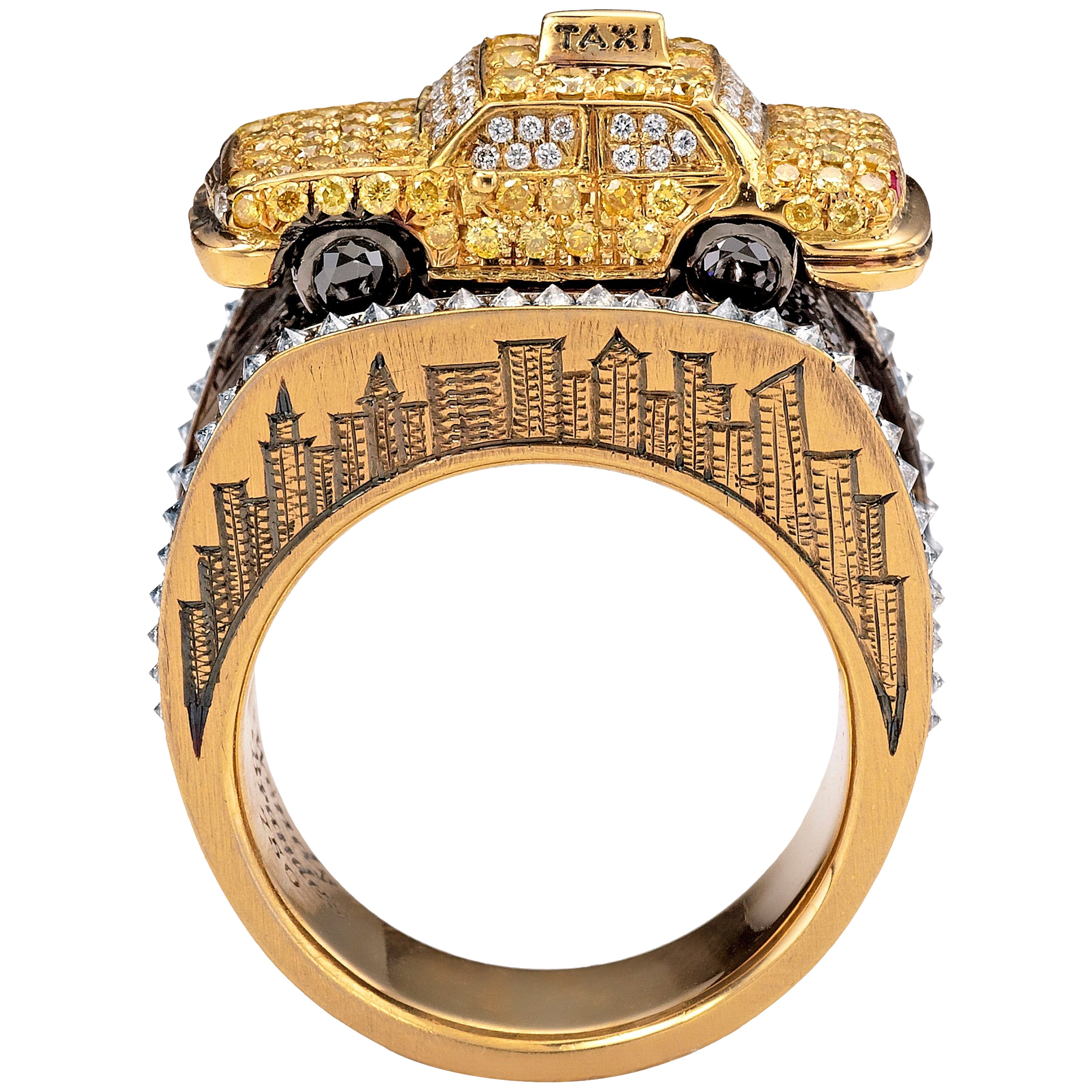 Wendy Brandes Signed Maneater Collection Ring: New York City Taxi and Passenger