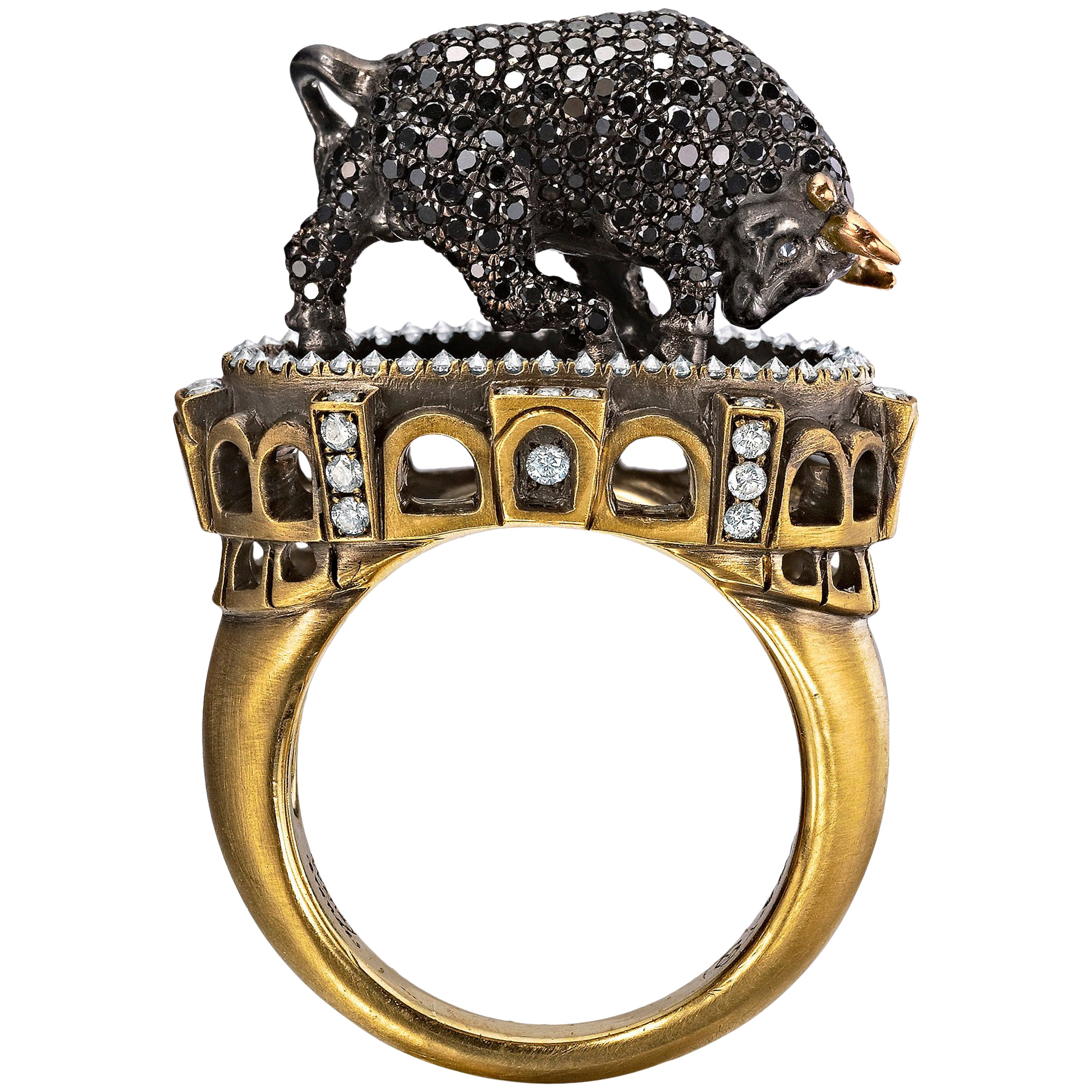 Wendy Brandes Signed Maneater Collection Ring: Bull and Bullfighter