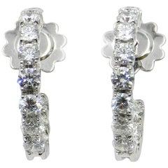 18 Karat White Gold White Diamonds Garavelli Round Hoop Earrings