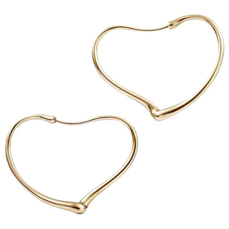 Elsa Peretti Open Heart Earrings Hoops Tiffany Co Yellow Gold For