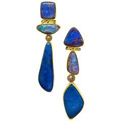 Jennifer Kalled Opal Earrings Rose Cut Diamonds 22 Karat Gold