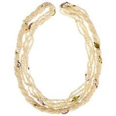 14 Karat Gold Gemstone Freshwater Pearl Torsade