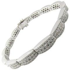 14 Karat White Gold 6 Carat Diamond Link Bracelet