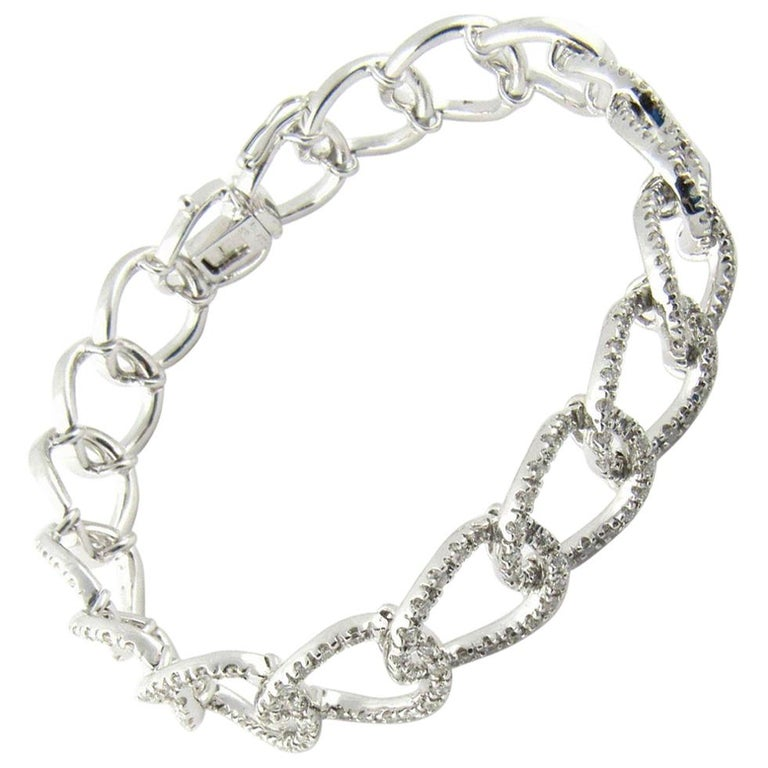 18 Karat White Gold Diamond Oval Link Bracelet