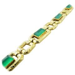 18 Karat Yellow Gold Green Onyx Etched Link Bracelet