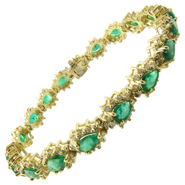 14 Karat Yellow Gold Emerald and Diamond Bracelet