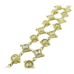 14 Karat Yellow Gold and Diamond Bracelet