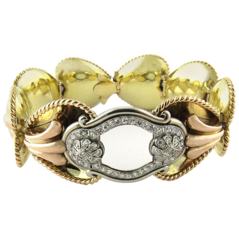 Antique 14 Karat Yellow Gold and Diamond Bracelet For Sale