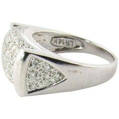 14 Karat White Gold Rectangle Dome Diamond Ring