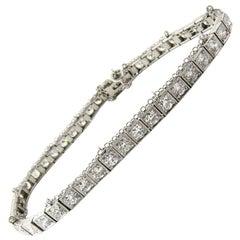 Antique Platinum Diamond Tennis Bracelet 4.4 Carat Safety Chain