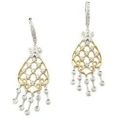 14 Karat White and Yellow Gold Diamond Chandelier Earrings