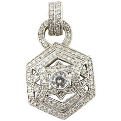 14 Karat White Gold and Diamond Pendant