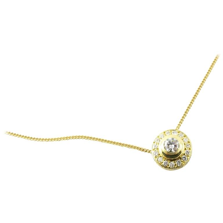 18 Karat Yellow Gold and Diamond Pendant Necklace