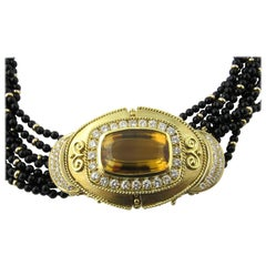 18 Karat Yellow Gold Diamond and Citrine Multi Onyx Strand Necklace and Brooch