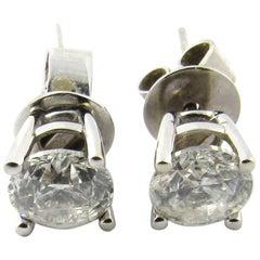 14 Karat White Gold Diamond Stud Earrings .85 Carat