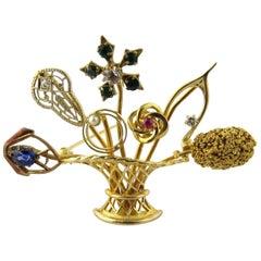 14 Karat Yellow Gold Flower Basket Stick Pin Brooch Handcrafted