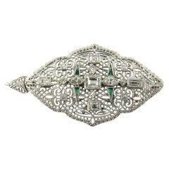 14 Karat White Gold Diamond and Emerald Pendant or Brooch
