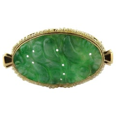 14 Karat Yellow Gold Oval Brooch Pin with Carved Jade and Seed Pearls
