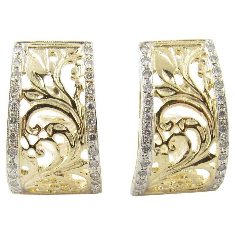 14 Karat Yellow Gold and Diamond Earrings