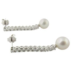 18 Karat White Gold Diamond and Cultured Pearl Drop Earrings