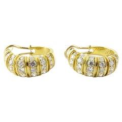 18 Karat Yellow Gold Diamond Oval Hoop Earrings