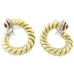 Nicolis Cola 18 Karat Yellow Gold Diamond Ruby Hoop Earrings